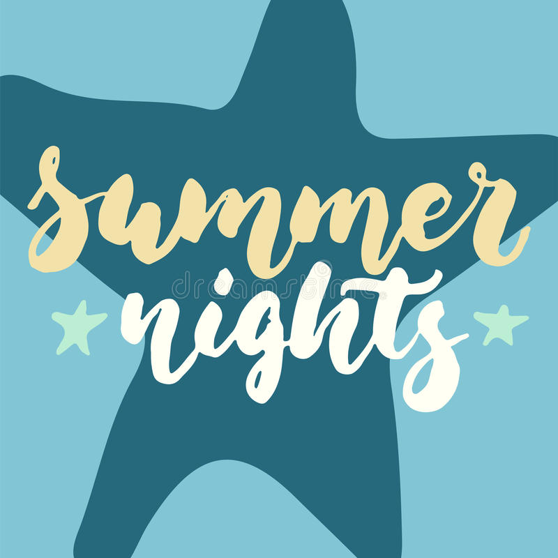 Exceptionnel Download Summer Nights   Hand Drawn Lettering Quote Colorful Fun Brush Ink  Inscription For Photo Overlays