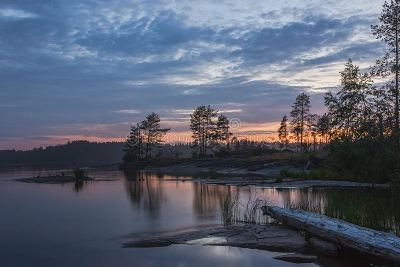 Summer Northern Night Over The Rocky Shore Of The Lake. Rocky coast of the lake with pine trees and driftwood against the summer sunset. Reflection of the night stock photography