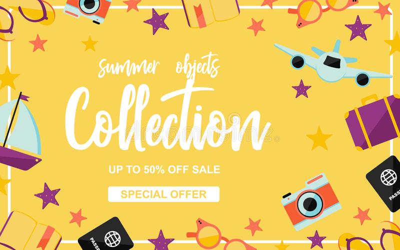 Summer objects collection poster with summer elements on yellow background vector illustration