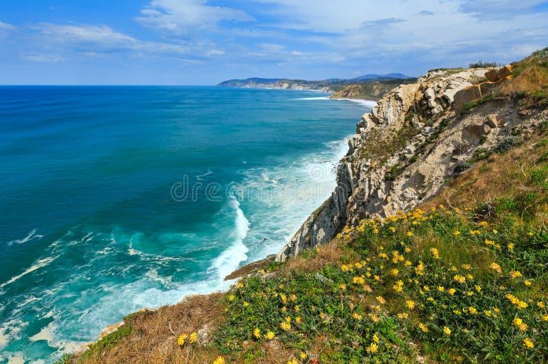 Summer ocean coastline view in Getxo town (Spain). Summer ocean coastline view near beach Azkorri or Gorrondatxe in Getxo town, Biscay, Basque Country (Spain stock image