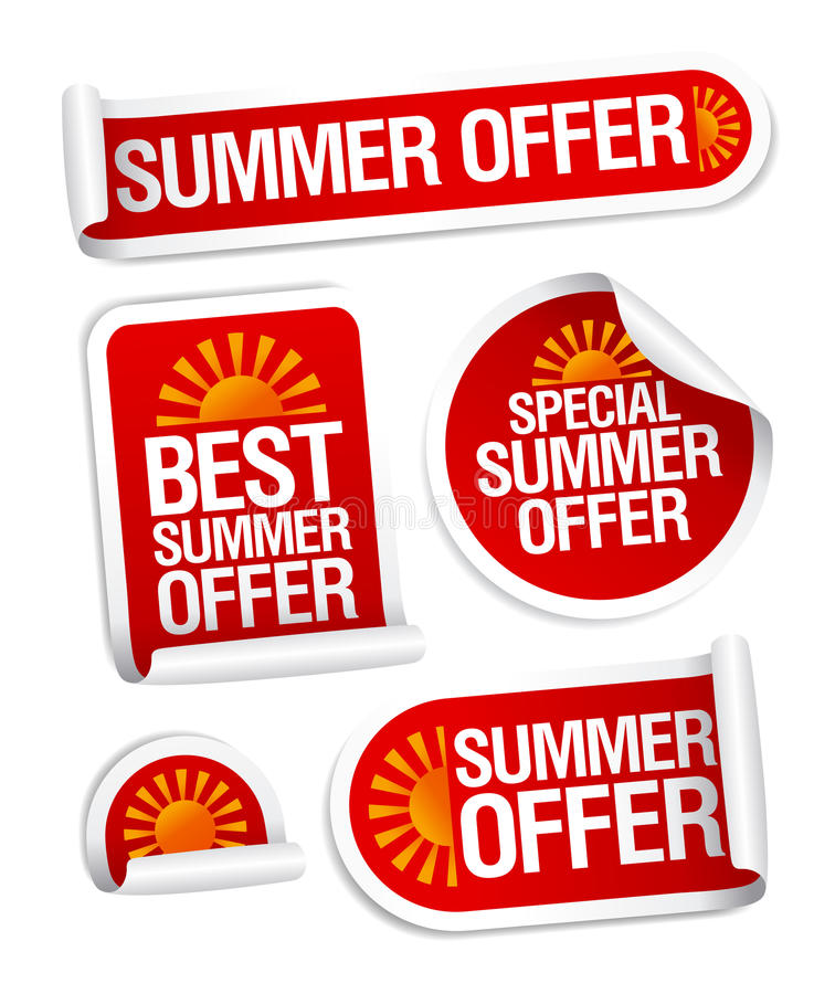 Summer offers stickers. vector illustration
