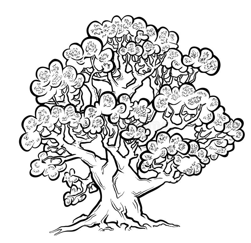 Summer Old Tree. Freehand Drawing. Stock Photos