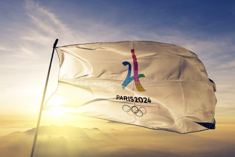 Summer Olympics logo flag textile cloth fabric waving on the top sunrise mist fog royalty free illustration