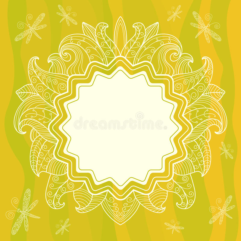 Summer openwork frame with flowers, leaves and dra vector illustration