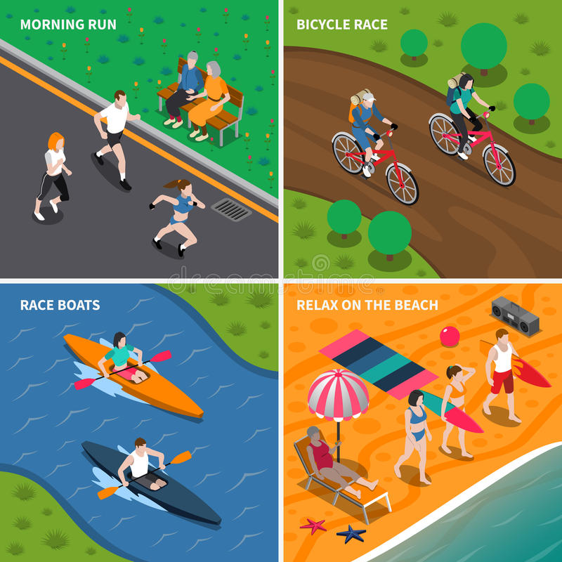 Summer Outdoor Activity People Icon Set vector illustration