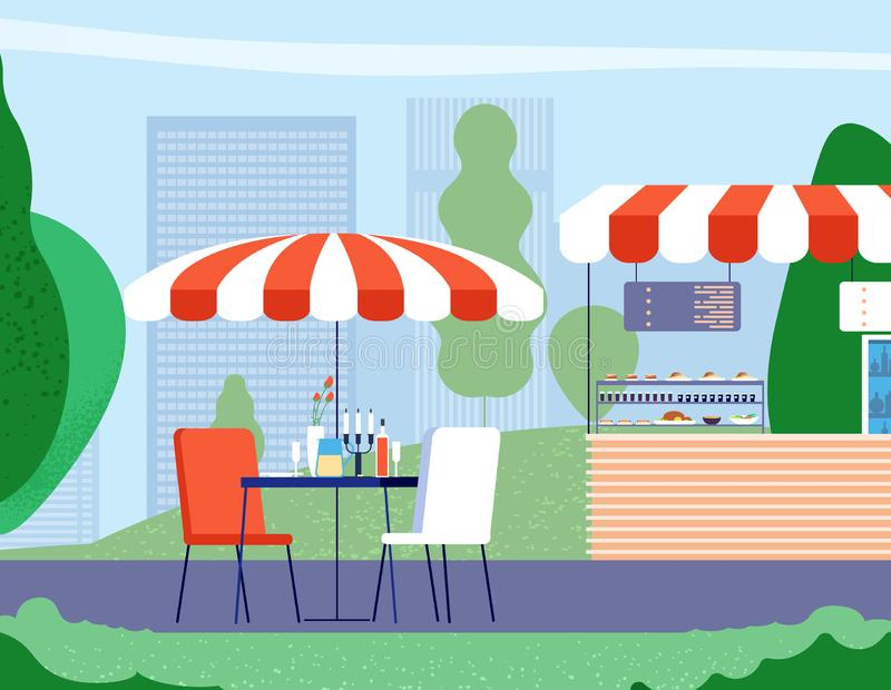 Summer outdoor cafe. Empty table and armchair under umbrella in street cafe. Bistro restaurant vector background royalty free illustration