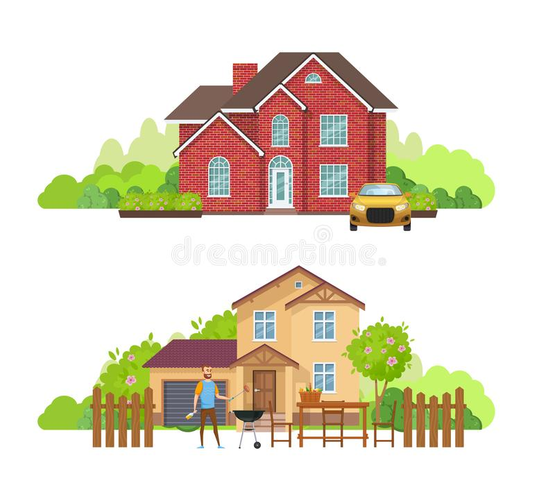 Summer outdoor picnic in yard of private house, cottage. stock illustration