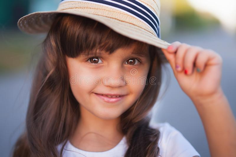 Summer outdoor portrait of beautiful happy child royalty free stock images