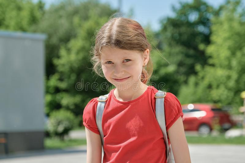 Summer outdoor portrait of a girl of 9 years royalty free stock image