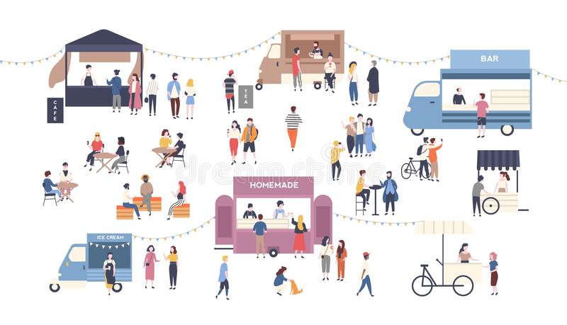 Summer outdoor street food festival. People walking between vans or caterers, buying meals, eating and drinking, taking vector illustration
