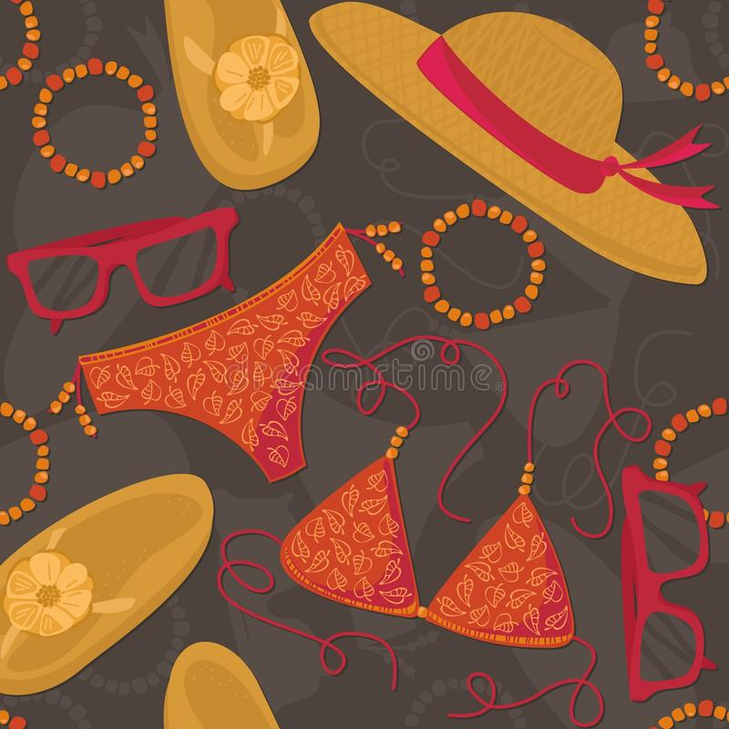 Summer outfit elements on dark seamless pattern royalty free illustration