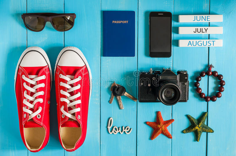 Summer outfit of traveler, student, teenager, girl, young woman or guy. Overhead Of essentials for modern Young person stock image