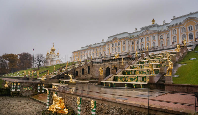 The Summer Palace in autumn. Peterhof. Russia. The Summer Palace. Peterhof in autumn. Saint Petersburg Surrounds. Russia royalty free stock images