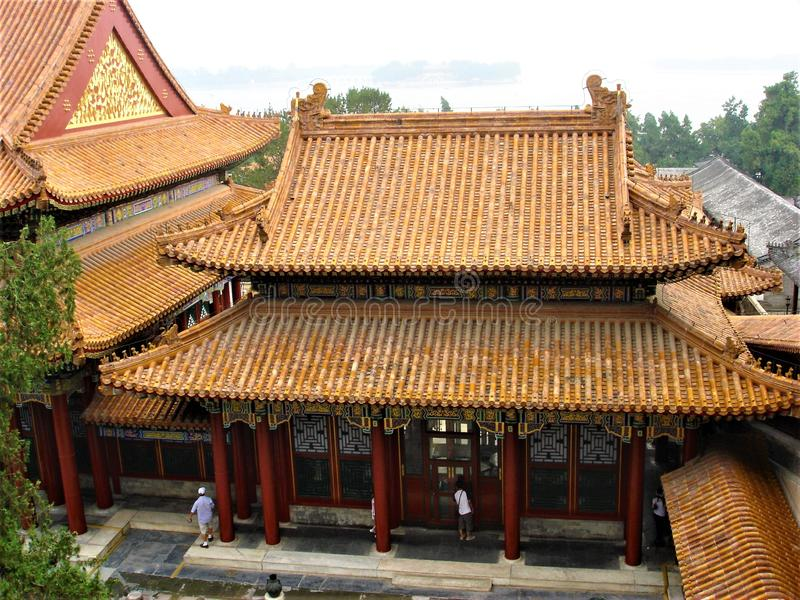 Summer Palace in Beijing, China. Chinese traditional architecture and tourists stock image