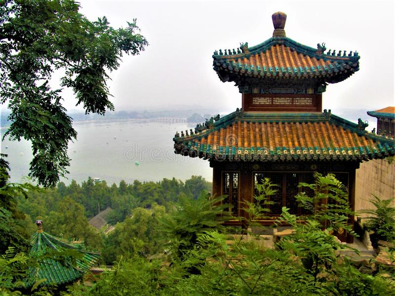 Summer Palace in Beijing city, China. Kunming Lake, nature and touristic attraction stock photos