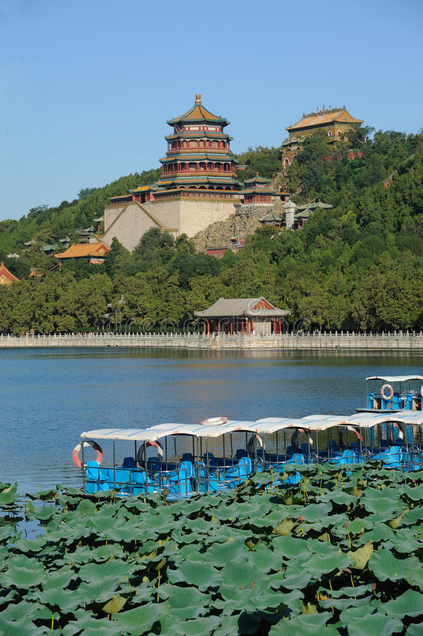 Summer palace with boat royalty free stock image