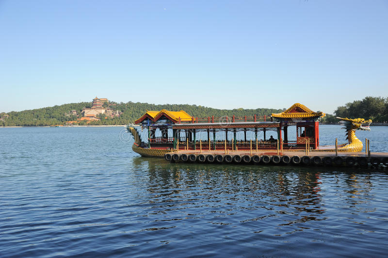 Summer palace with dragon boat royalty free stock photography