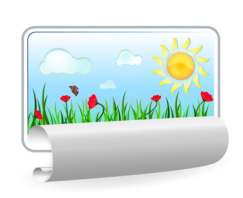 Summer in paper frame with curl. On white background vector illustration