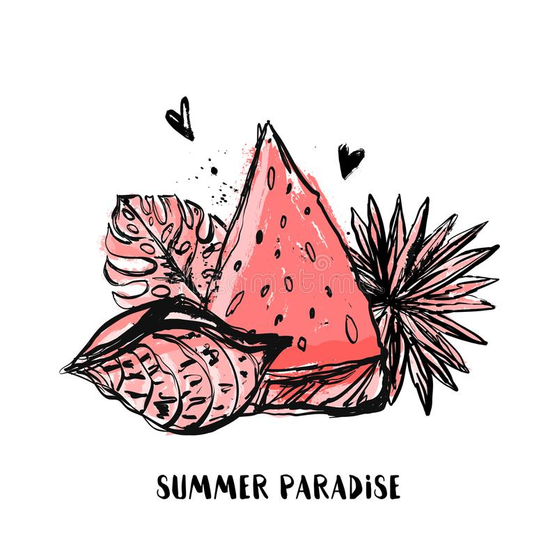 Summer Paradise grunge tshirt design with watermelon and tropic leaves, shell. Exotic hawaiian floral drawing vector illustration