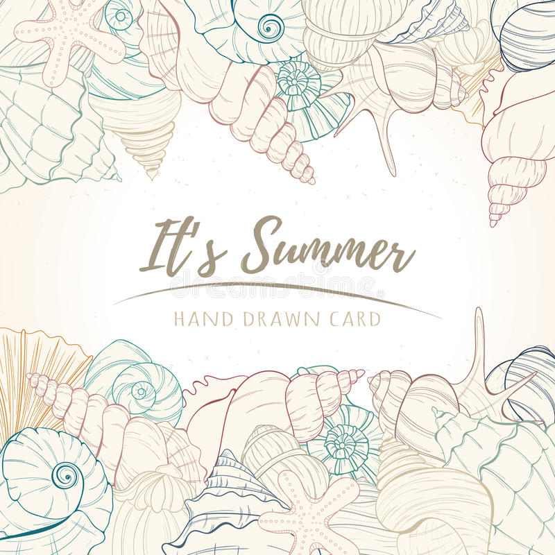 Summer paradise holiday marine card. Seashell illustration can be used for invitation, postcard, menu, flyer or website Hand draw underwater tropical objects royalty free illustration