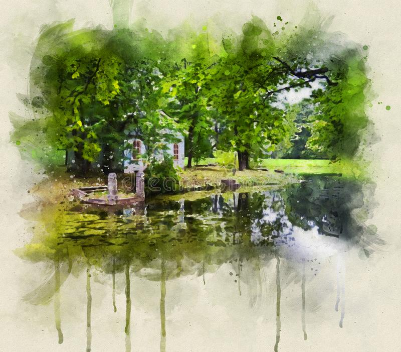 Summer park digital watercolor with liquid paints splashes effect. Beautiful countryside landscape royalty free illustration