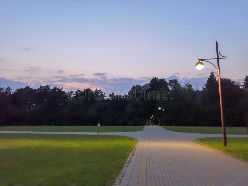 Summer park, Russia. Evening in the city Park. Lantern, trees, paths and lawn. in the background. Summer park, Russia. Wooden benches in an empty night park royalty free stock image