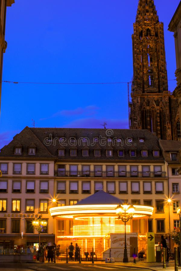 Summer party in august 2018 with tourists on the place Gutenberg in Strasbourg France royalty free stock image