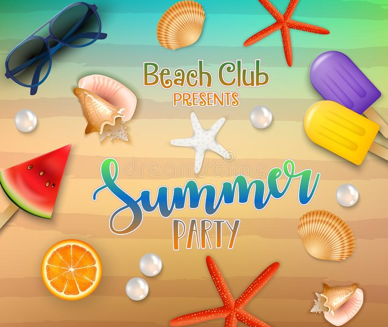Summer party background. Top view on fresh starfish, orange, watermelon, corals, sunglasses, ice creams, pearl, and sea sand vector illustration