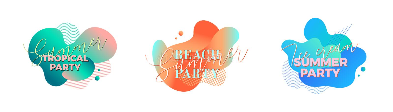 Summer party. Design templates with fluid shapes royalty free stock images