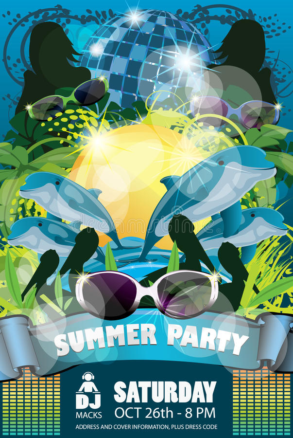 Summer Party Flyer Blue royalty free stock image