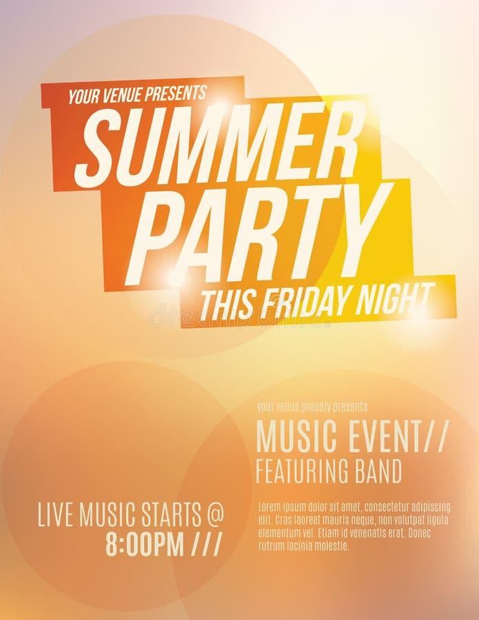 Summer Party Flyer Template. Bright orange sunset summer party flyer template design stock illustration