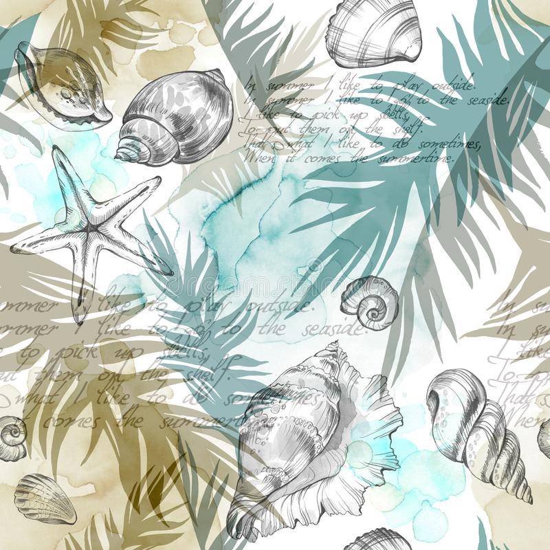 Summer Party holiday background, watercolor illustration. Seamless pattern with sea shells, molluscs and palm leaves vector illustration