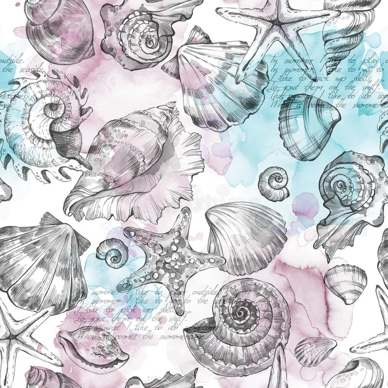 Summer Party holiday background, watercolor illustration. Seamless pattern with sea shells, molluscs, text and color vector illustration