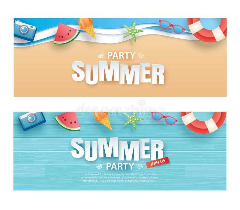 Summer party invitation banner with decoration origami. Paper art and craft style. Vector illustration of life ring, ice cream, vector illustration