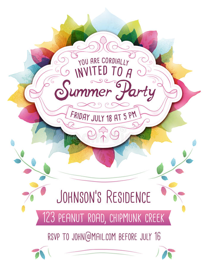 Summer Party Invitation stock illustration