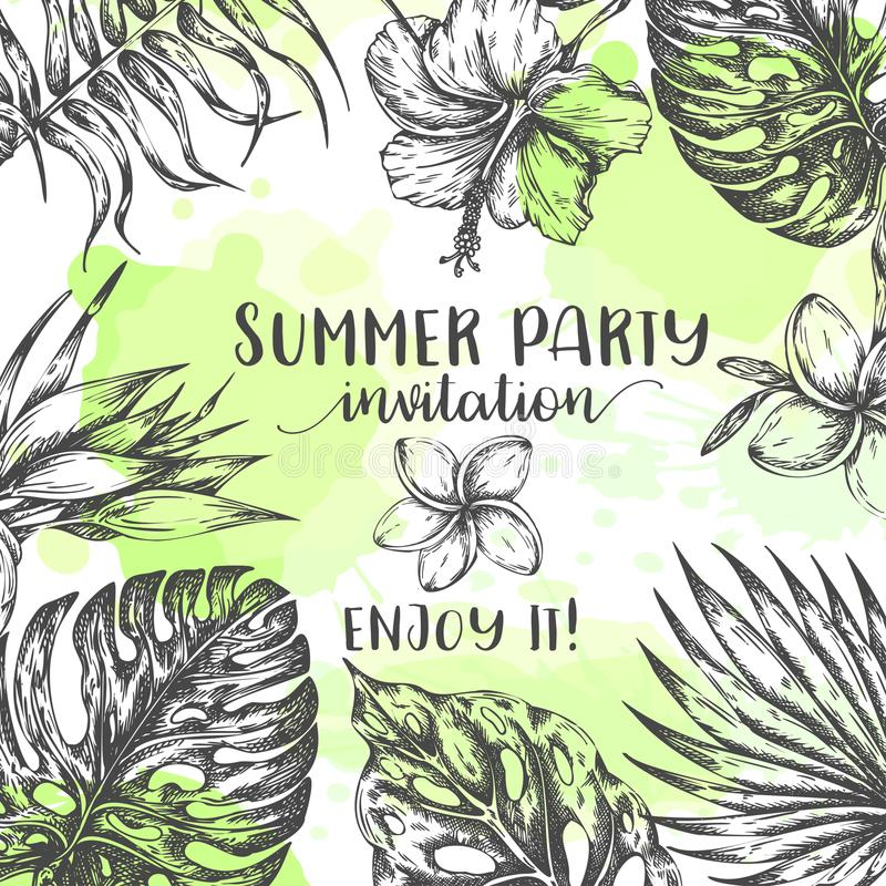 Summer party invitation Tropical Leaves Trendy Summer Background Wedding Invitation with tropic palm leaf Vector stock illustration