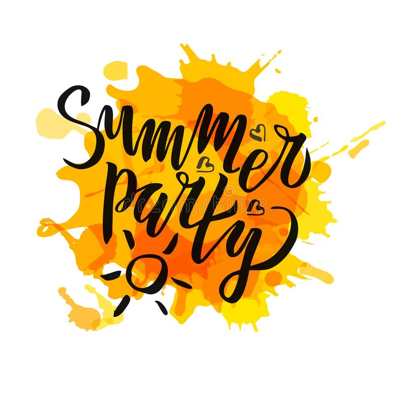 Summer party lettering Gradient Handwritten calligraphy, brush painted letters on blot background. Inspirational text in vector. Illustration. Template for vector illustration