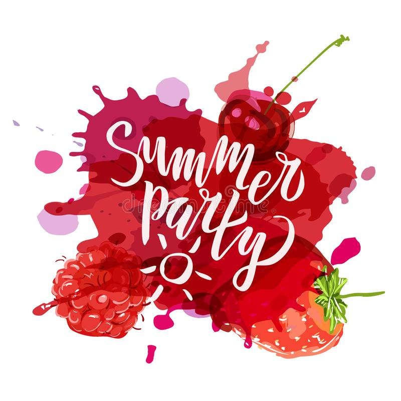 Summer party lettering Handwritten calligraphy, brush painted letters on blot and berries background. Inspirational text in vector. Illustration. Template for stock illustration