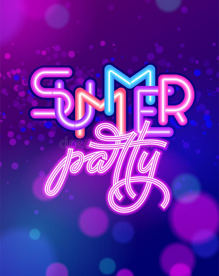 Summer party lettering on ultraviolet neon glow background. Neon sign. Vector template for night club poster, flyers. Invitations. Vector illustration. EPS10 vector illustration