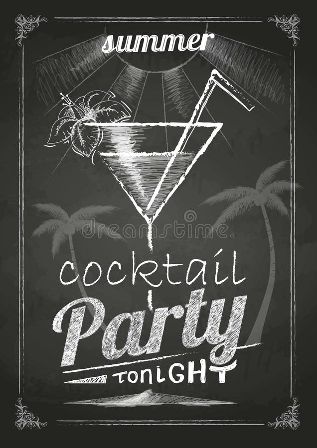 Summer party poster. Chalk drawings. royalty free illustration