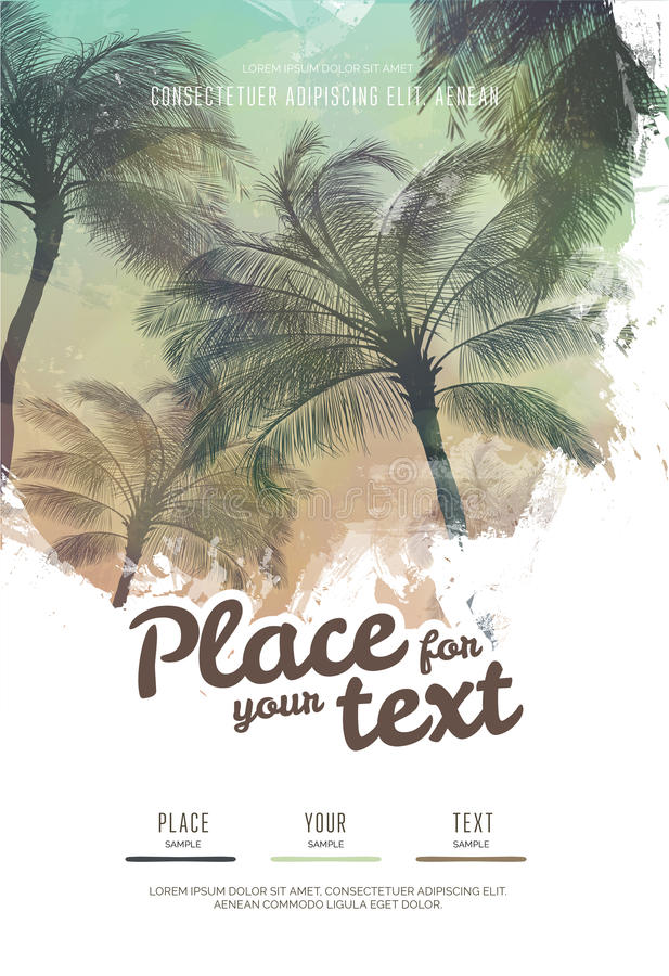Summer party poster or flyer design template with palm trees silhouettes. Modern style. Vector illustration vector illustration