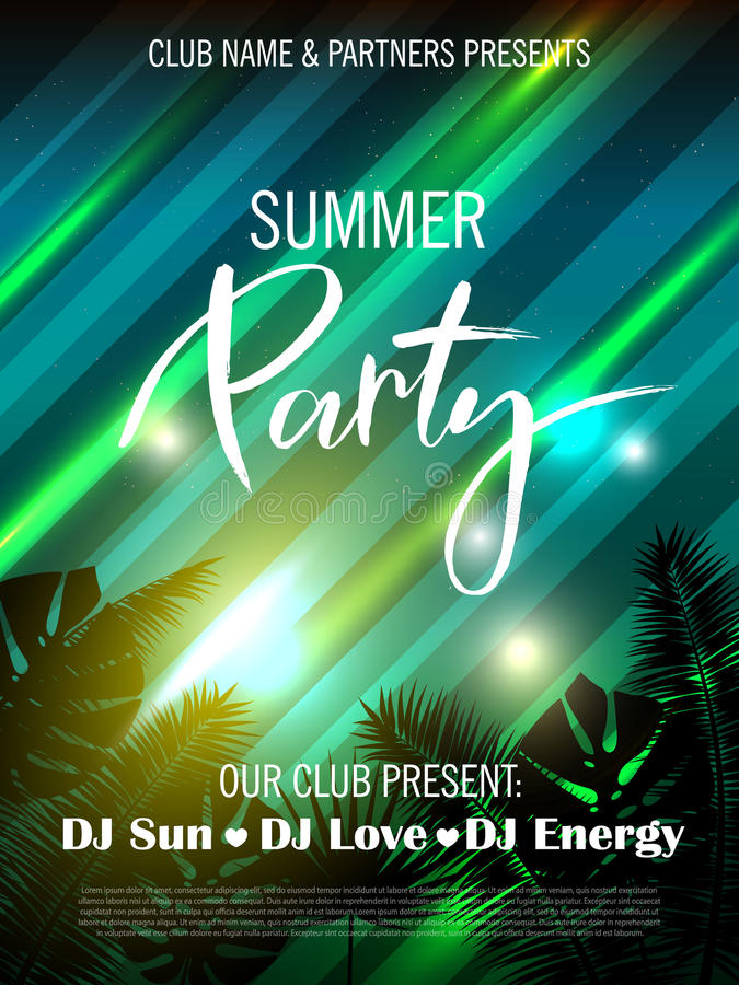 Summer party poster with palm leaf, light effect and lettering. Vector illustration EPS10 stock illustration