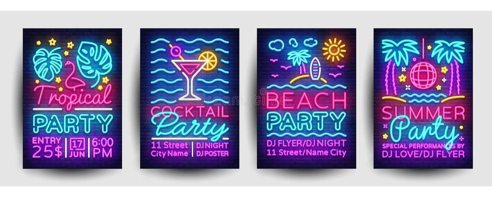 Summer party posters collection neon vector. Summer party design template, bright neon brochure, modern trend design royalty free illustration