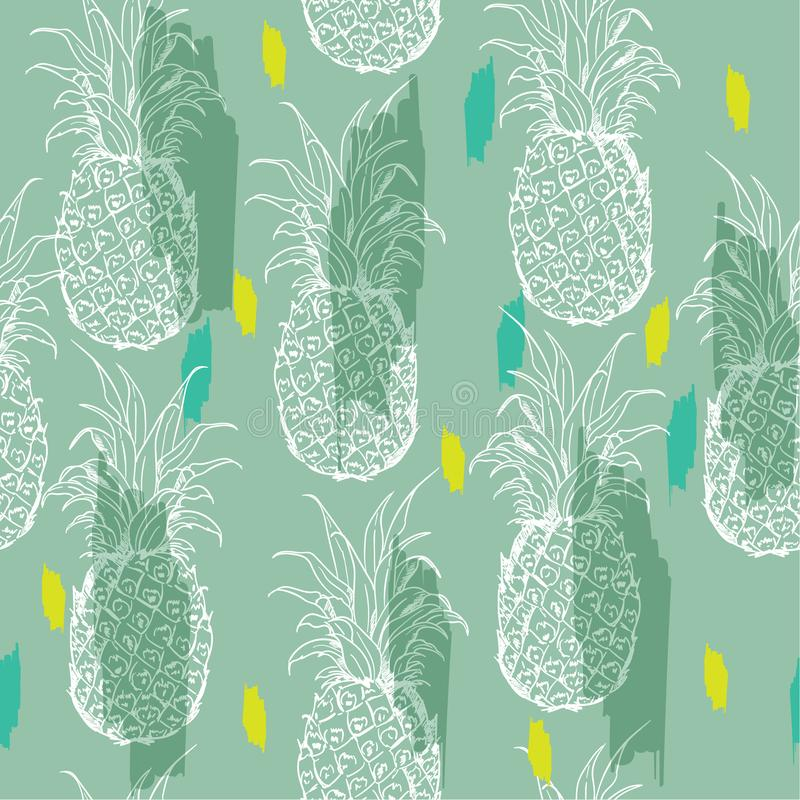 Summer pastel and bright summer Exotic seamless pattern with silhouettes tropical fruit outline pineapples. Hand drawn and paint royalty free illustration