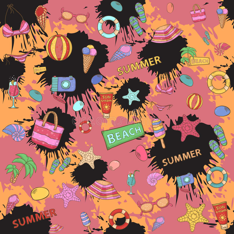 Summer pattern,on the background color blots vector illustration
