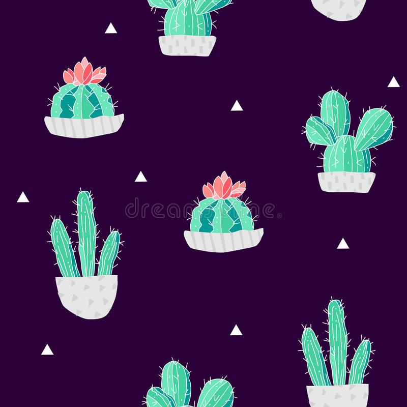 Summer pattern with cacti in a flowerpots and triangles on black background. Vector vector illustration