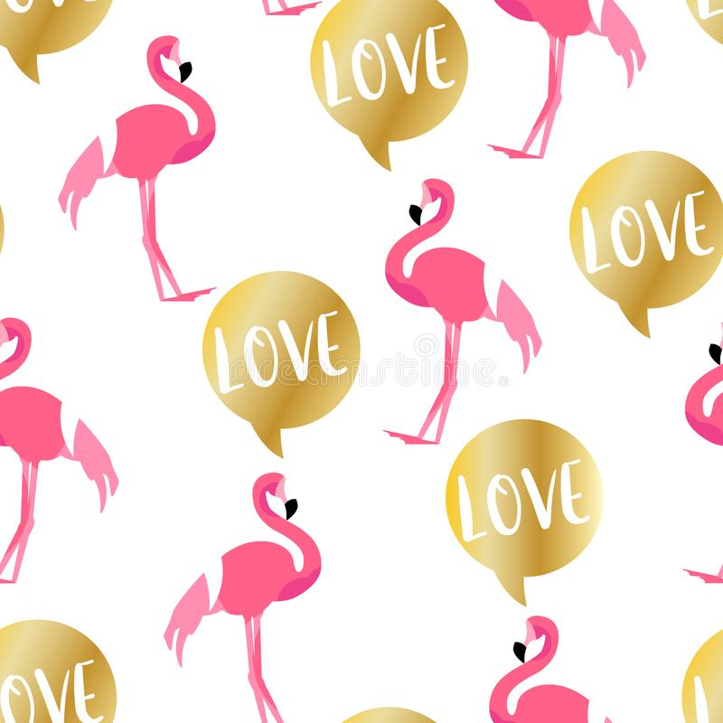 Summer pattern with cute flamingo and golden text cloud on white background. Ornament for textile and wrapping. Vector royalty free illustration