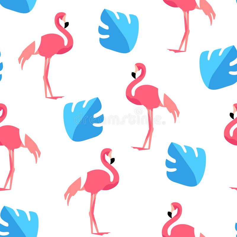 Summer pattern with cute flamingo and palm leaves on white background. Ornament for textile and wrapping. Vector.  royalty free illustration
