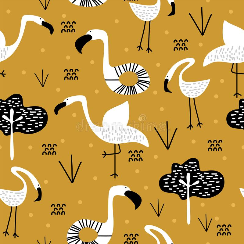 Summer pattern with cute flamingo scandinavian drawing. Childish artistic elements background for fashion textile print vector. Illustration, design, tropical royalty free illustration
