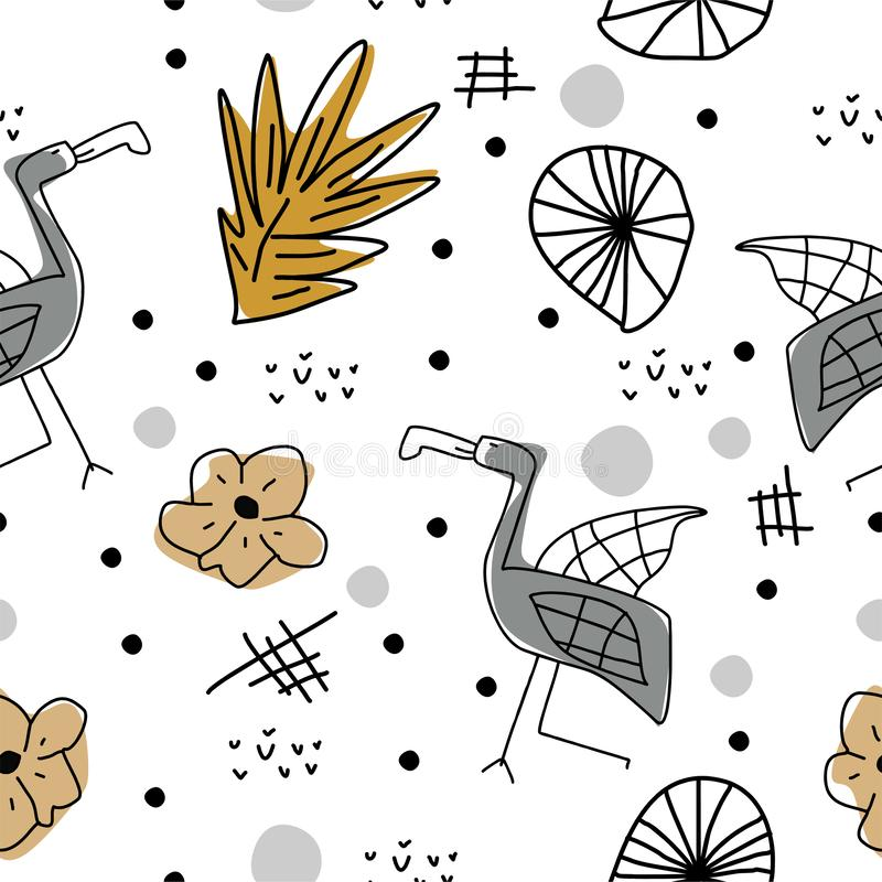 Summer pattern with cute flamingo scandinavian drawing. Childish artistic elements background for fashion textile print vector. Illustration, design, tropical vector illustration